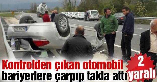 Kontrolden çıkan otomobil bariyerlere çarpıp takla attı