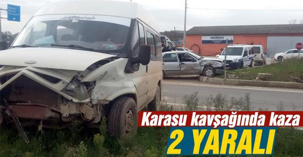 Karasu kavşağında kaza