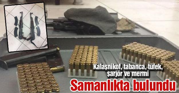 Samanlıkta çok sayıda silah bulundu