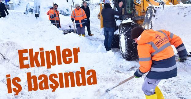 Karasu'da karla mücadele sürüyor