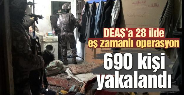 DEAŞ'a 28 ilde eş zamanlı operasyon