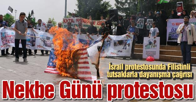 İsrail protestosunda Filistinli tutsaklarla dayanışma çağrısı
