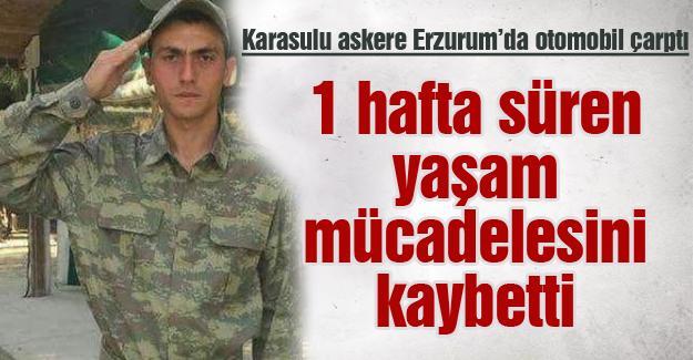 Karasulu asker yaşam mücadelesini kaybetti