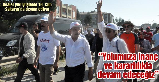 Adalet yürüyüşünde 16. Gün Sakarya'da devam ediyor
