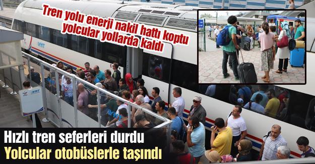Hızlı tren seferleri durdu! Yolcular otobüslerle taşındı
