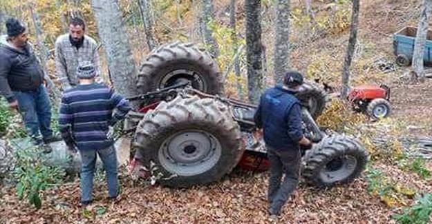 Direksiyon hakimiyetini kaybettiği traktör devrildi