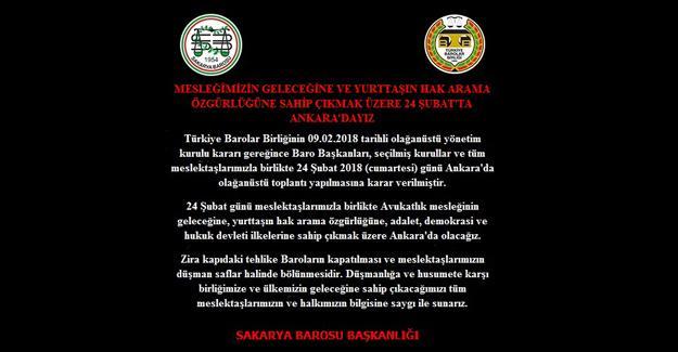 Barolar Ankara'da toplanıyor