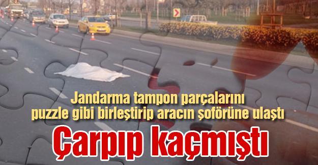 Jandarma tampon parçalarını puzzle gibi birleştirip aracın şoförüne ulaştı