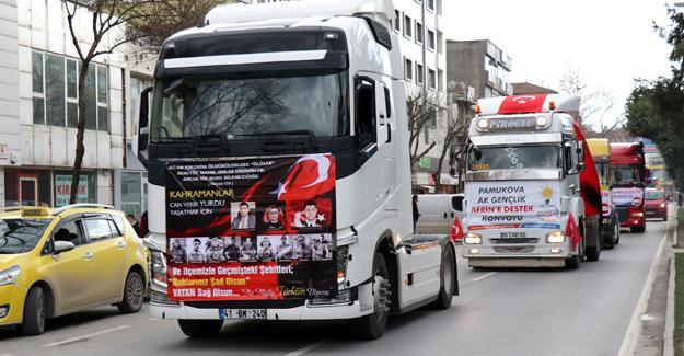Pamukovalı tırcılardan Mehmetçiğe destek konvoyu