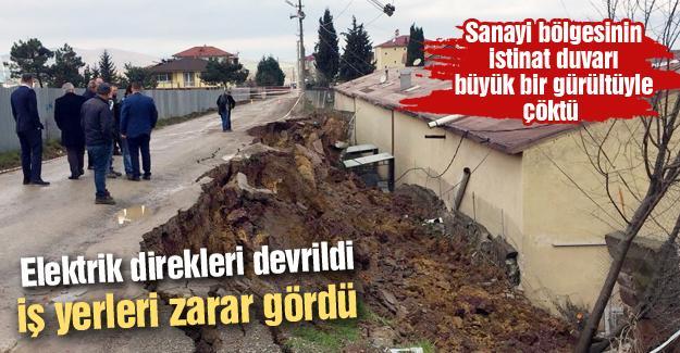 Sanayi bölgesinin istinat duvarı çöktü!