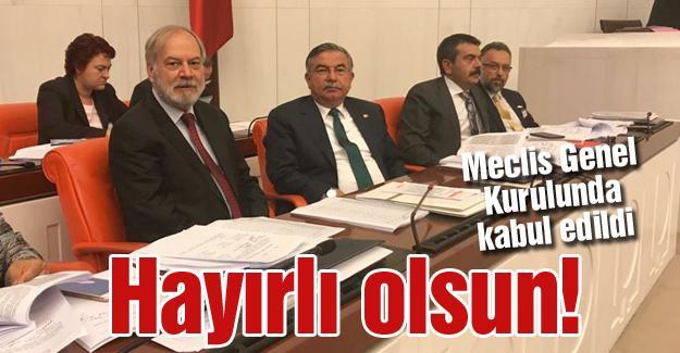 Meclis Genel Kurulunda kabul edildi