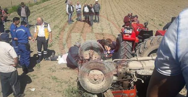 Tırmığı yola takılan traktör devrildi! Sürücü hayatını kaybetti