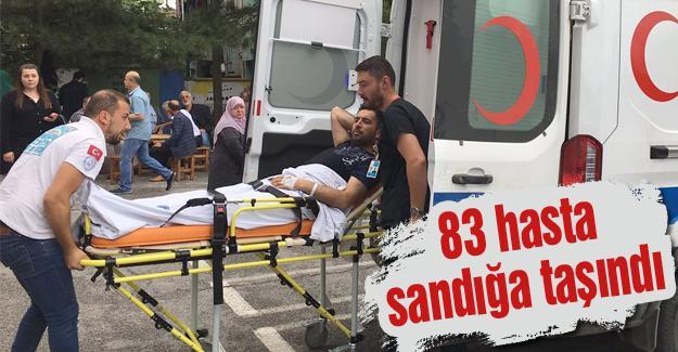 Hastalar sandığa ambulanslarla götürüldü
