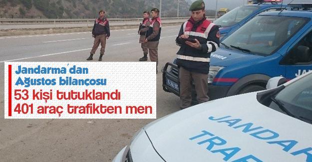 Jandarma'dan Ağustos bilançosu
