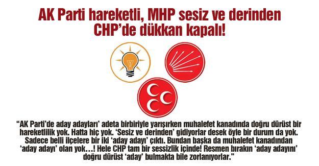 AK Parti hareketli, MHP sesiz ve derinden, CHP'de dükkan kapalı!…