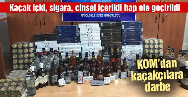 Kaçak içki, sigara, cinsel içerikli hap ele geçirildi