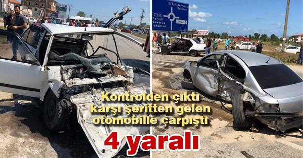 Kontrolden çıktı karşı şeritten gelen otomobille çarpıştı! 4 yaralı