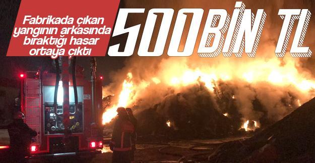 Geri dönüşüm fabrikasındaki yangının hasarı 500 bin TL