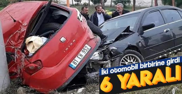 İki otomobil birbirine girdi: 6 yaralı