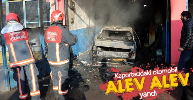 Kaportacıdaki otomobil alev alev yandı