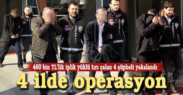 460 bin TL'lik iplik yüklü tırı çalan 4 şüpheli yakalandı