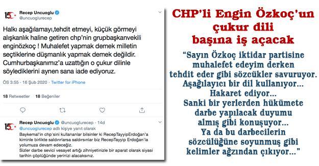 CHP'li Engin Özkoç'un çukur dili başına iş açacak