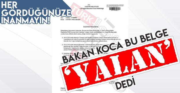 Bakan Koca'dan o belge hakkında açıklama!