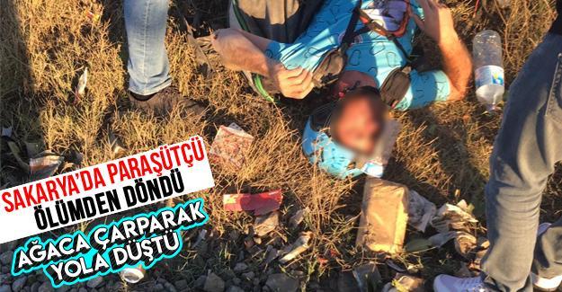 Sakarya'da paraşütçü ölümden döndü