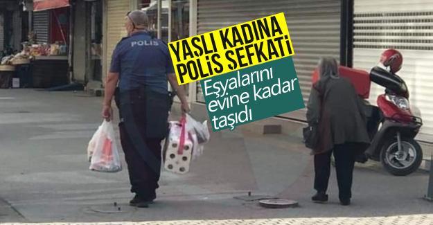 Yaşlı kadına polis şefkati