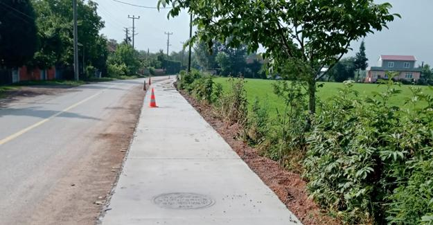 Doğancılarda beton yaya yolu tamamlandı
