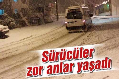 Maltepe Mahallesi'nde sürücülere kar eziyeti