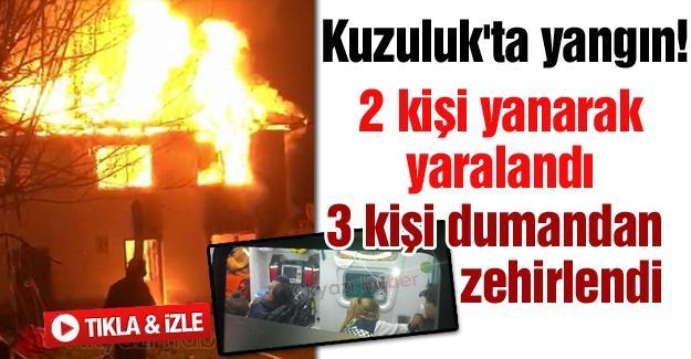 2 kişi yanarak yaralandı 3 kişi dumandan zehirlendi