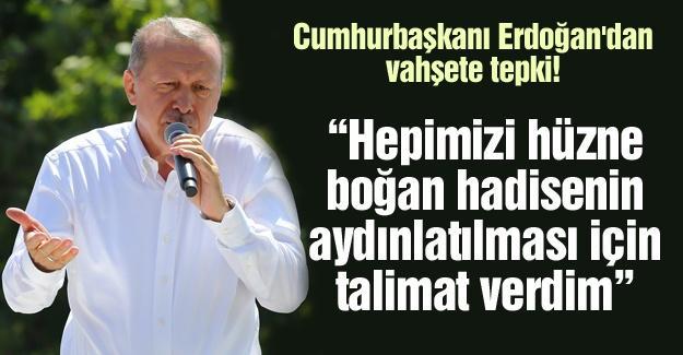 Cumhurbaşkanı Erdoğan'dan vahşete tepki
