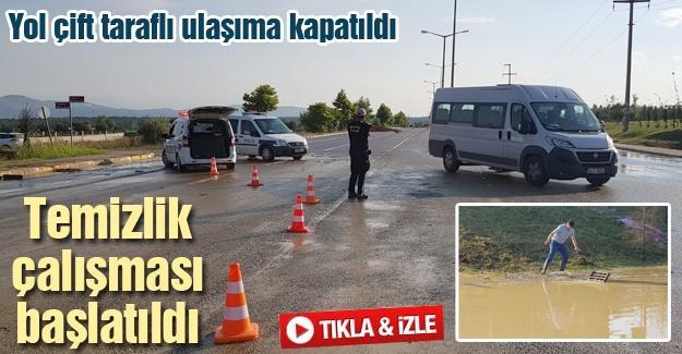 Yol çift taraflı ulaşıma kapatıldı