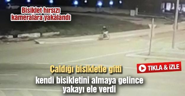 Çaldığı bisikletle gitti kendi bisikletini almaya gelince yakayı ele verdi