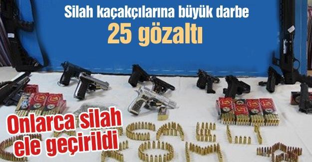 Silah kaçakçılarına büyük darbe! 25 gözaltı