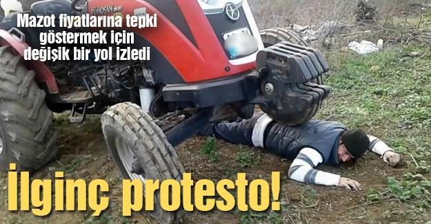 Çiftçiden ilginç protesto!