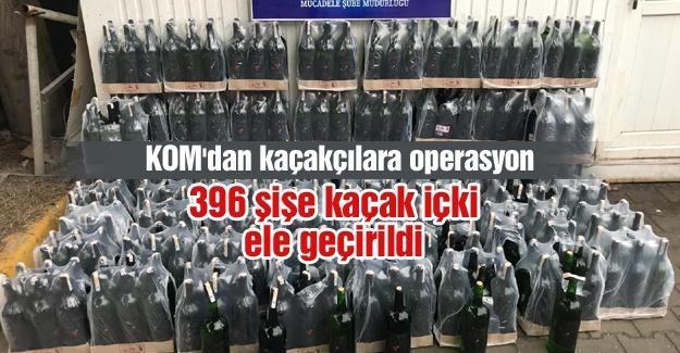396 şişe kaçak içki ele geçirildi