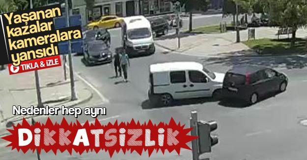 Sakarya'da yaşanan kazalar kameralara yansıdı