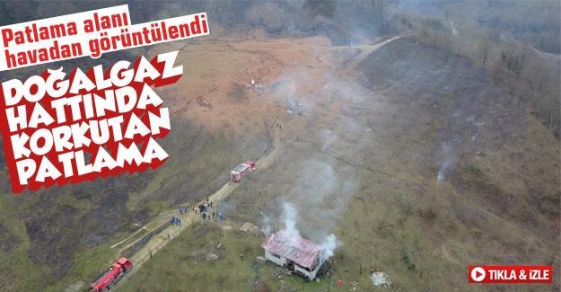 Boru hattının patladığı alan havadan görüntülendi