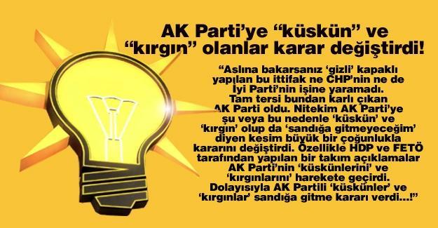 """AK Parti'ye """"küskün"""" ve """"kırgın"""" olanlar karar değiştirdi!…"""