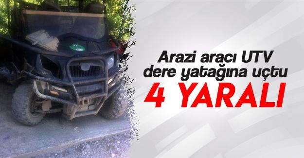 Arazi aracı UTV dere yatağına uçtu: 4 yaralı