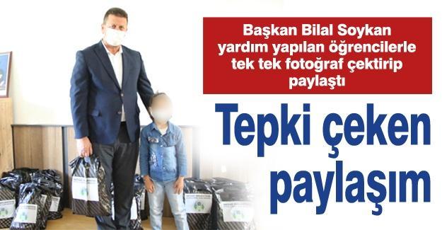 Başkan Bilal Soykan yardım yapılan öğrencilerle tek tek fotoğraf çektirip paylaştı!