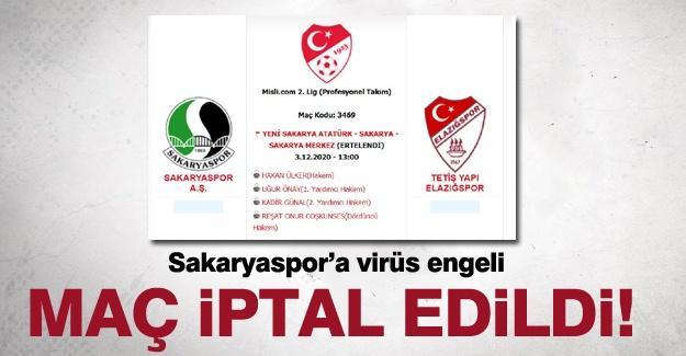 Sakaryaspor'a virüs engeli! Maç iptal edildi