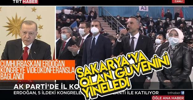 Cumhurbaşkanı Erdoğan kongreye videokonferansla bağlandı
