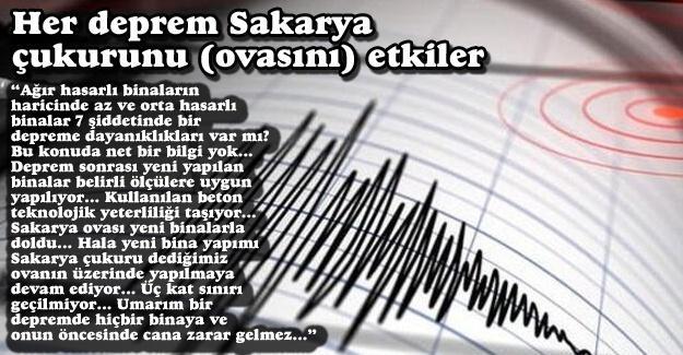 Her deprem Sakarya çukurunu (ovasını) etkiler