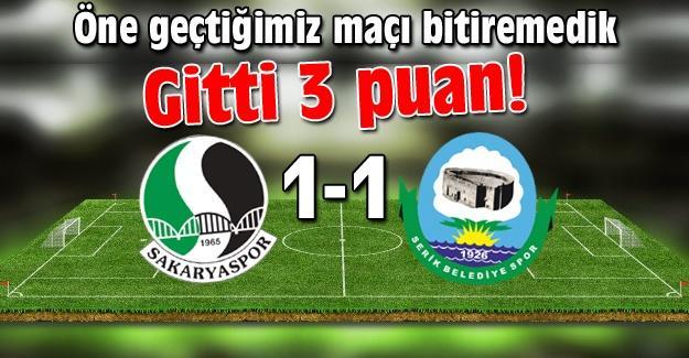 Sakaryaspor yine kayıp! 1-1