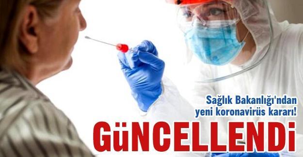 Sağlık Bakanlığı'ndan yeni koronavirüs kararı!