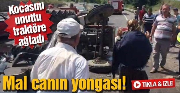 Kocasını unuttu traktöre ağladı