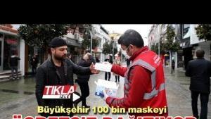 Büyükşehir 100 bin maskeyi ücretsiz dağıtıyor